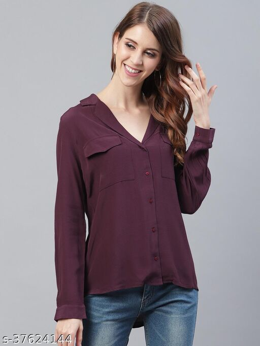 I AM FOR YOU Women Maroon Regular Fit Solid High-Low Casual Shirt