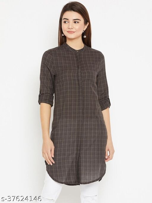 I AM FOR YOU Women Brown Regular Fit Checked Casual Longline Shirt