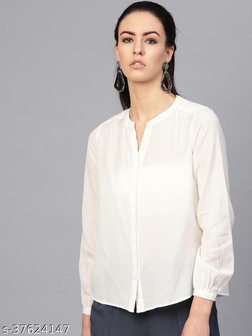 I AM FOR YOU Women White Regular Fit Self Design Casual Shirt