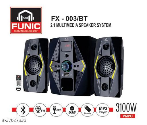 Funic Multimedia 2.1 Speaker with Bluetooth, SD Card, USB, AUX, FM and Remote Control - F003/BT (3100 W)