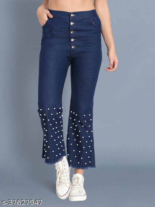 BuyNewTrend Dark Blue Pearl Embellished Slim Fit Denim Jeans For Women-(Dark Blue-2441)