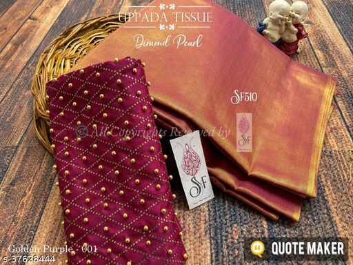 UPPADA TISSUE SILK-DIAMOND PEARL WORK