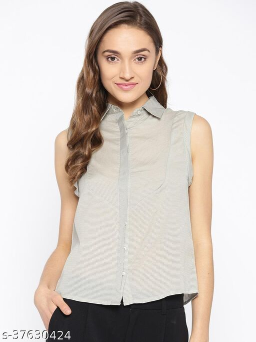 I AM FOR YOU Women Grey Self Design Sleeveless Casual Shirt
