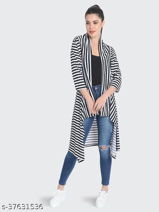 Dimpy Garments Black White Hosiery Lycra Striped Long Shrug For Women