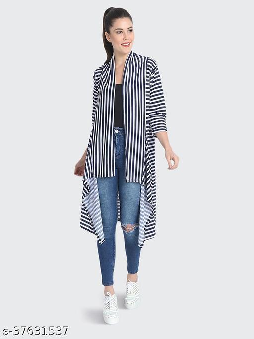 Dimpy Garments Navy White Hosiery Lycra Striped Long Shrug For Women