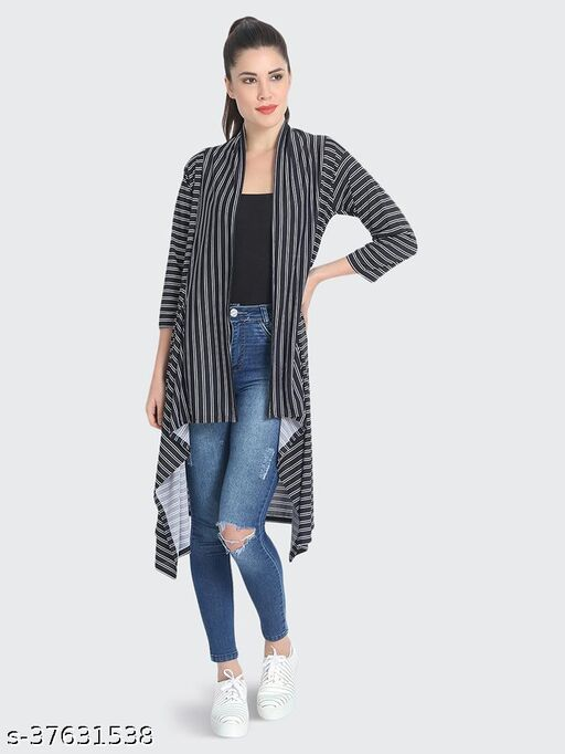 Dimpy Garments Black Hosiery Lycra Striped Long Shrug For Women