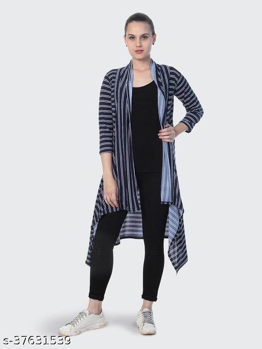 Dimpy Garments Navy Blue Hosiery Lycra Striped Long Shrug For Women