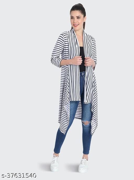 Dimpy Garments White Hosiery Lycra Striped Long Shrug For Women