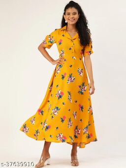 Women Mustard Yellow & Teal blue Floral Printed Tie-Up Maxi Dress