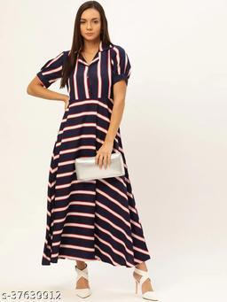 Women Navy Blue & White Striped Maxi Dress