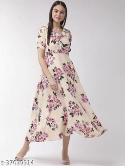 Women Cream-Coloured & Pink Floral Print Maxi Dress