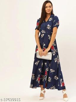 Women Navy Blue & White Printed Maxi Dress