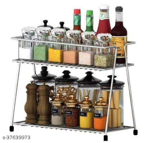 PLA Stainless Steel Spice 2-Tier Trolley Container Organizer Organiser/Basket for Boxes Utensils Dishes Plates for Home (Multipurpose Kitchen Storage Shelf Shelves Holder Stand Rack)