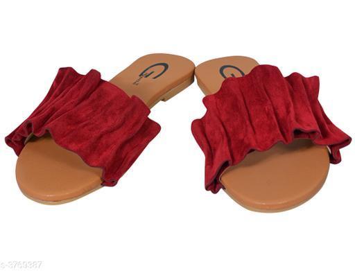 Flats Pretty Synthetic Leather Women's Flat Sandal  *Material* Outer Material - Synthetic Leather, Sole - TPC   *IND Size* IND - 3, IND - 4, IND - 5, IND - 6, IND - 7   *Color* Cherry   *Description* It Has 1 Pair Of Women's Flat Sandal  *Sizes Available* IND-3, IND-4, IND-5, IND-6, IND-7 *    Catalog Name: Diya Pretty Synthetic Leather Women's Flat Sandal Vol 1 CatalogID_527755 C75-SC1071 Code: 523-3769387-999