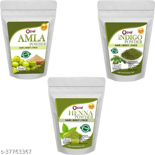OEHB Natural Amla , Indigo and Henna Powder ( Each 100gm)