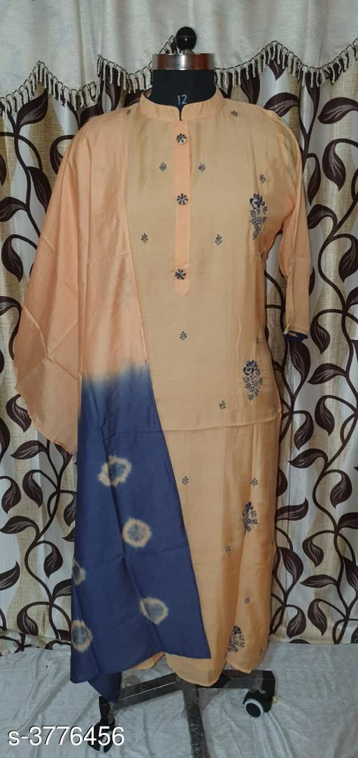 Kurta Sets Chanderi Silk Women's Kurtis With Dupatta  *Fabric* Kurti -Chanderi Silk,  Dupatta - Chanderi Silk  *Sleeves* Sleeves Are Included  *Size* XXL- 44 in,  Dupatta Size - 2 Mtr  *Length* Up To 46  in  *Type* Stitched  *Description* It Has 1 Piece Of Women's Kurti With Dupatta  *Work* Embroidery  *Sizes Available* Free Size, XL, XXL   SKU: 21 Free shipping is available for this item. Pkt. Weight Range: 300  Catalog Name: Gorgeous Chanderi Silk Women's Kurtis With Dupatta Vol 6 - SILPA ETHNIC CENTER Code: 5461-3776456--