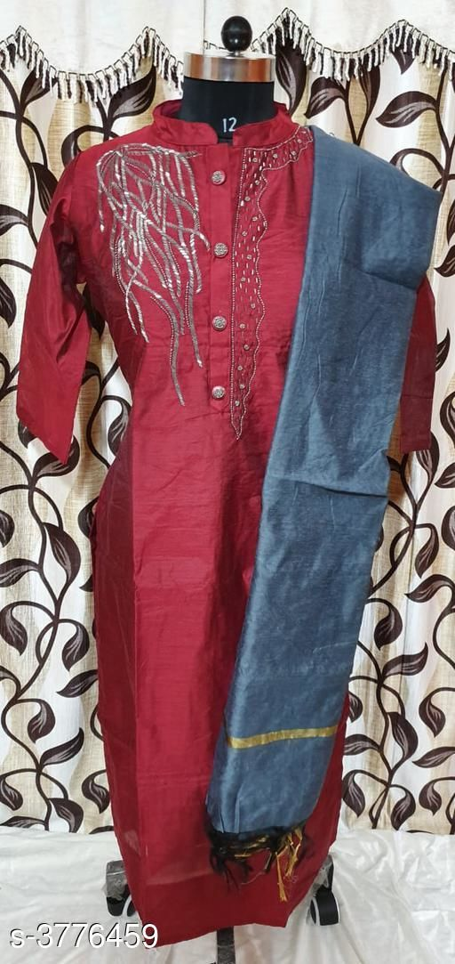 Kurta Sets Chanderi Silk Women's Kurtis With Dupatta  *Fabric* Kurti -Chanderi Silk,  Dupatta - Chanderi Silk  *Sleeves* Sleeves Are Included  *Size* XXL- 44 in,  Dupatta Size - 2 Mtr  *Length* Up To 46  in  *Type* Stitched  *Description* It Has 1 Piece Of Women's Kurti With Dupatta  *Work* Embroidery  *Sizes Available* Free Size, XL, XXL   SKU: 24 Free shipping is available for this item. Pkt. Weight Range: 300  Catalog Name: Gorgeous Chanderi Silk Women's Kurtis With Dupatta Vol 6 - SILPA ETHNIC CENTER Code: 9421-3776459--