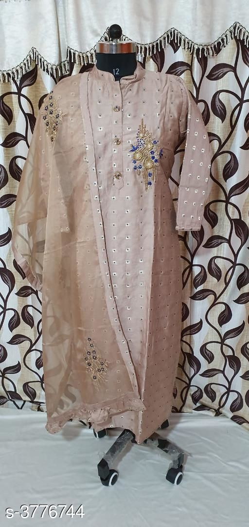 Kurta Sets Chanderi Silk Women's Kurtis With Dupatta  *Fabric* Kurti - Chanderi Silk,  Dupatta - Chanderi Silk  *Sleeves* Sleeves Are Included  *Size* XXL- 44 in,  Dupatta Size - 2 Mtr  *Length* Up To 46  in  *Type* Stitched  *Description* It Has 1 Piece Of Women's Kurti With Dupatta  *Work* Embroidery  *Sizes Available* Free Size, XL, XXL   SKU: 16 Free shipping is available for this item. Pkt. Weight Range: 300  Catalog Name: Gorgeous Chanderi Silk Women's Kurtis With Dupatta Vol 7 - SILPA ETHNIC CENTER Code: 0661-3776744--