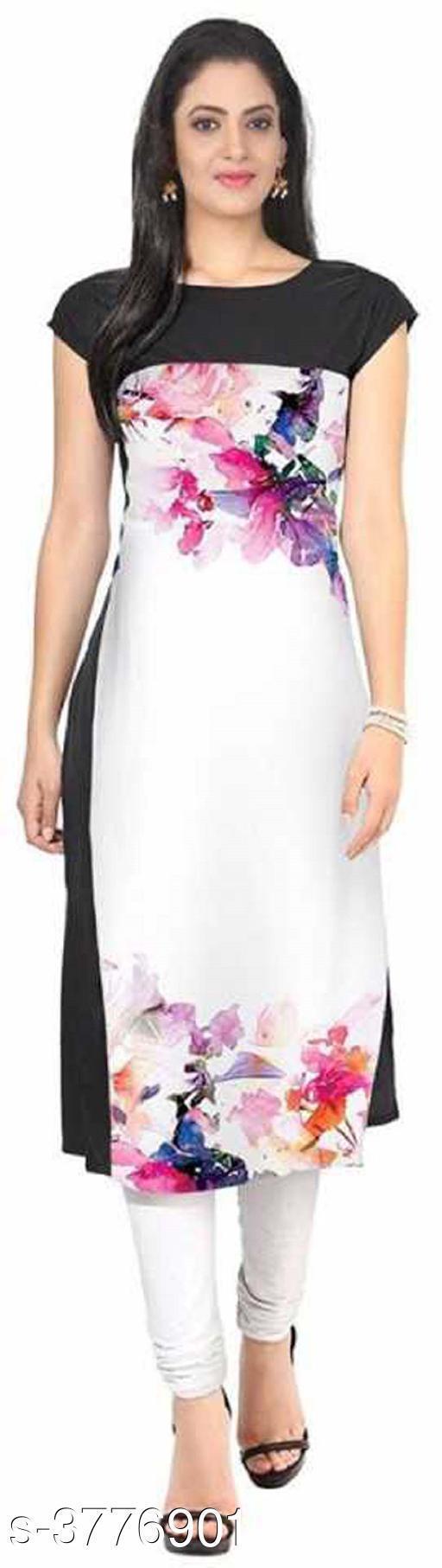Women's Printed White Crepe Kurti