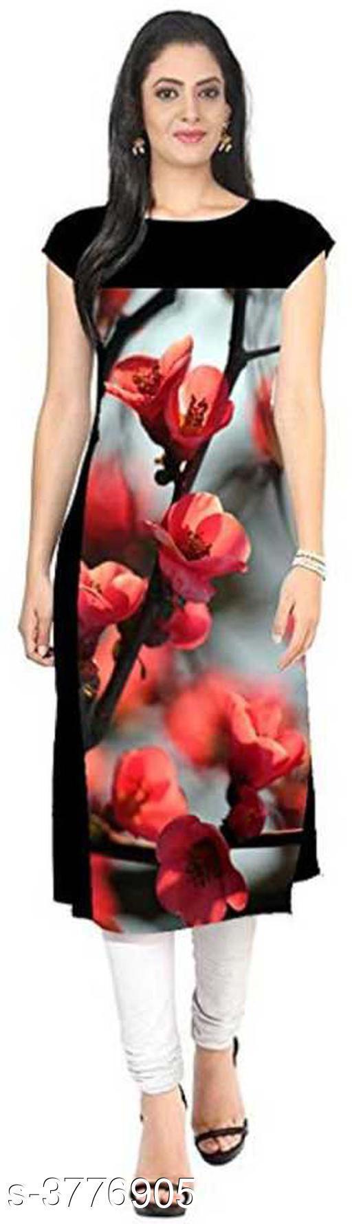 Women's Floral Printed Crepe Kurti