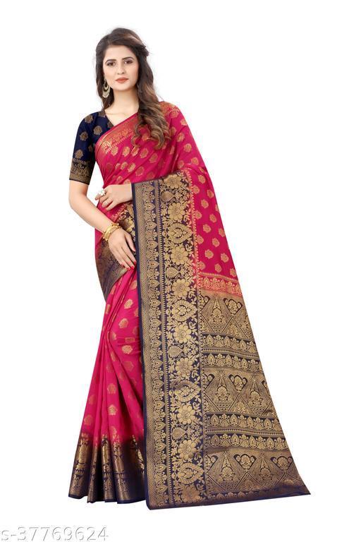 Designer daily wear jacquard banarasi cotton silk magenta colour saree