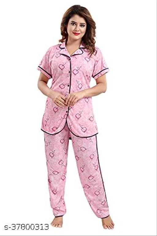 TUCUTE® Women's Sarina Knitted Women's Shirt and Pyjama Night Suit Set (Flower_Pink_4683)