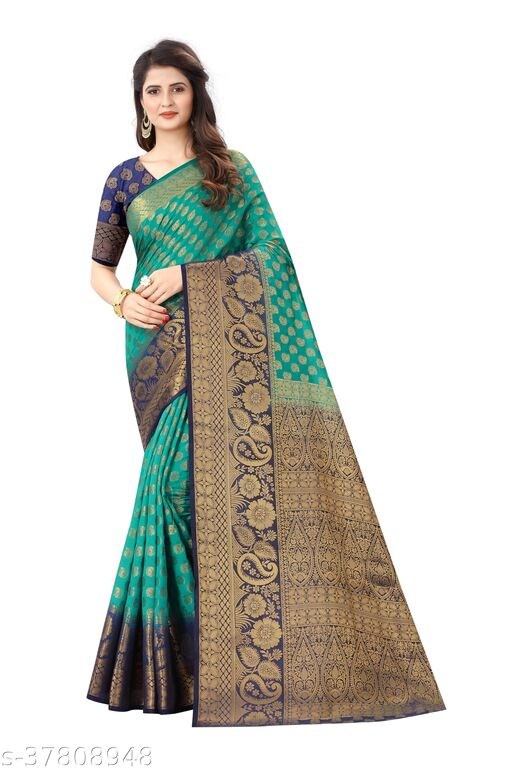 Designer daily wear jacquard banarasi cotton silk rama colour saree