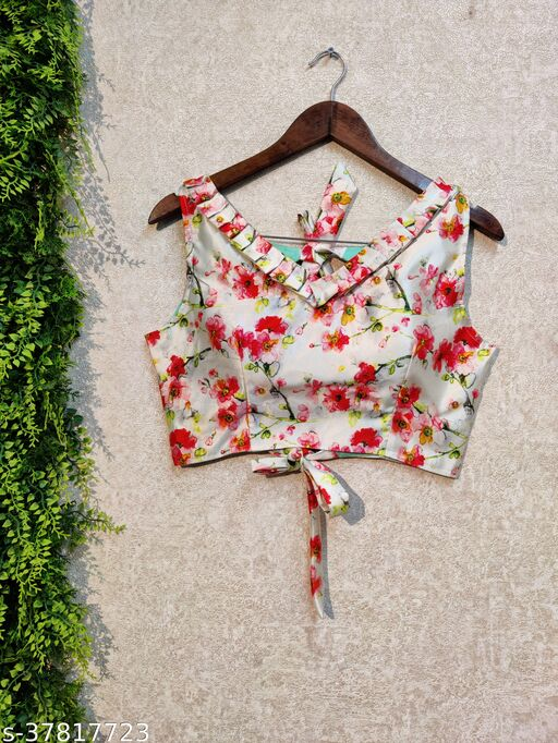SIXSIGMA DIGITAL PRINT FULL STICHED UP TO 42 INCH ALTERABLE MARGIN CROP TOP BLOUSE
