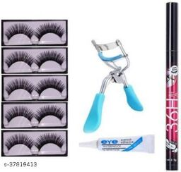 False Eyelashes set of 5 with Eye adhesie+Curler & H36 Eyeliner(8 Items in the set)