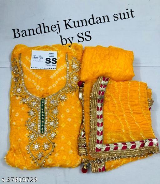 PK HUB Bandhani Hand Work Dress Suit  Material for women