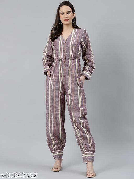 Cotton stripes classy jumpsuit