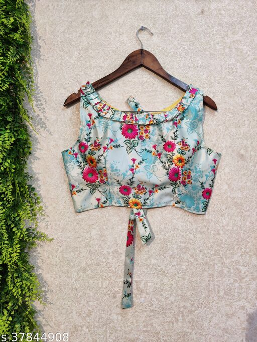 KAIZEN DIGITAL PRINT FULL STICHED UP TO 42 INCH ALTERABLE MARGIN CROP TOP BLOUSE