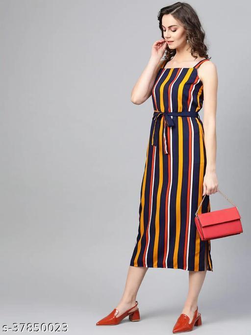 Women Navy Blue & Yellow Candy Striped A-Line Dress With Belt