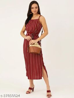 Women Maroon & Off-White Striped A-Line Dress With Belt