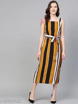 Women Mustard Yellow & Black Striped A-Line Dress With Belt
