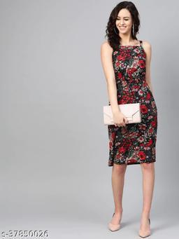 Women Black & Red Tropical Printed Sheath Dress With Belt