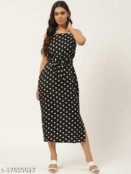 Women Black & White Polka Dot Printed A-Line Dress With Belt
