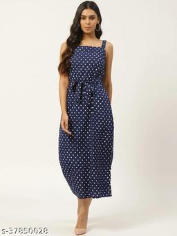 Women Navy Blue & White Polka Dot Printed A-Line Dress With Belt