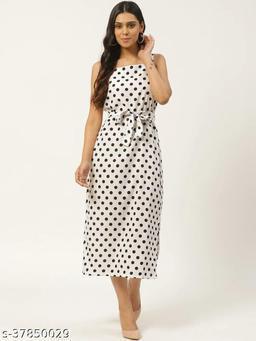 Women White & Black Polka Dot Printed A-Line Dress With Belt
