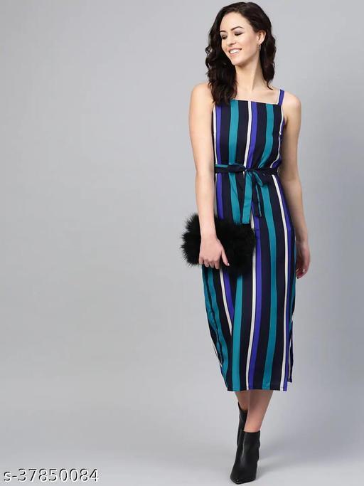Women Blue Striped A-Line Dress With Belt