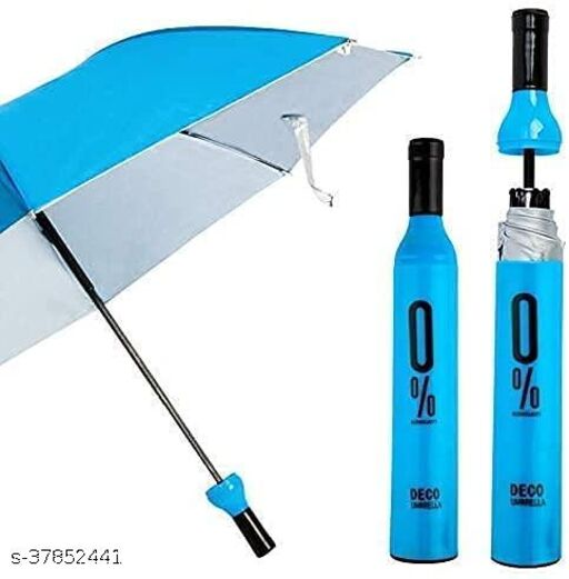 Delson Compact & Folding Umbrella With Wine Bottle Cover Waterproof Ultra Protective UV Mini Portable Umbrellas(Assorted Colour)