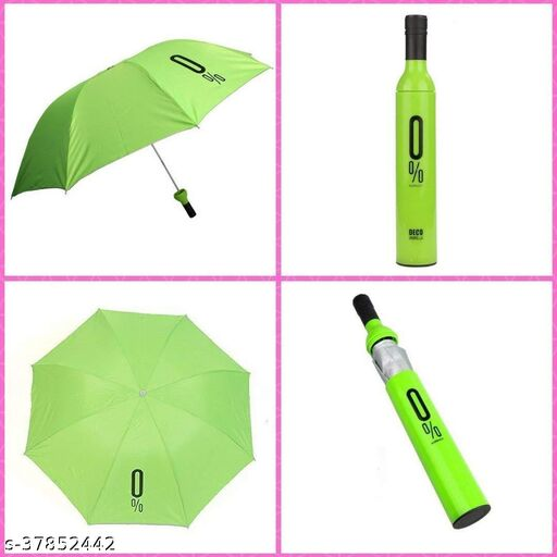 Delson Double Layer Folding Portable Wine Bottle Umbrella with Bottle Cover for UV Protection & Rain (110cm) (Design & Color As Per Availability)