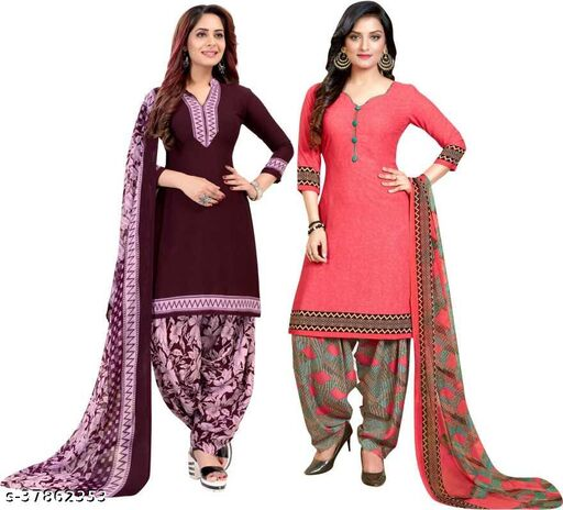 Anny Deziner Women's Dark Purpal And Peach Crepe Printed Unstitched Salwar Suit Material (Combo of 2)