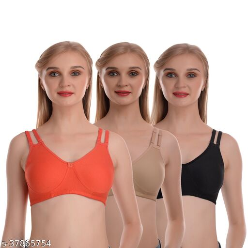 MH Mode Women's Cotton Non Padded Non Wired Double Strip Bra Pack of 3