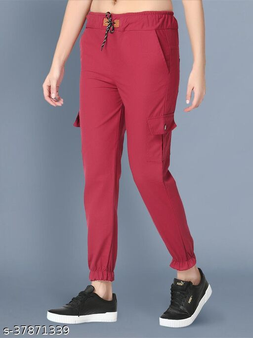 BuyNewTrend Skinny Maroon Side Pocket Twil Pencil Jogger Jeans For Women-2474