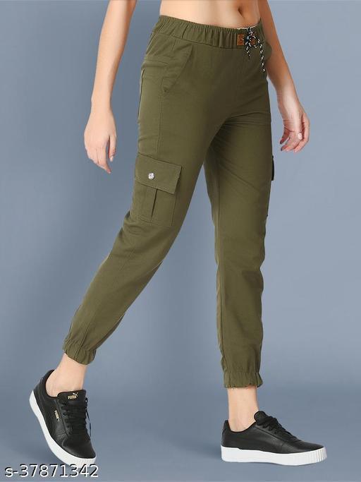 BuyNewTrend Skinny Green Side Pocket Twil Pencil Jogger Jeans For Women-2473