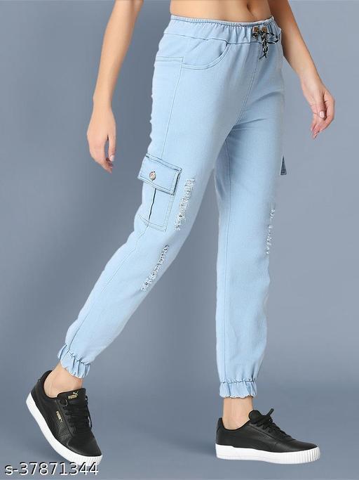 BuyNewTrend Denim Light Blue Side Pocket Ripped Jogger Jeans For Women-2470