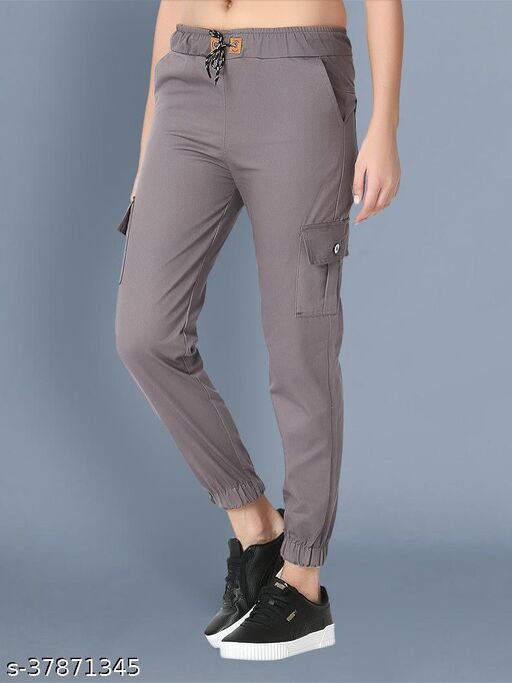 BuyNewTrend Skinny Grey Side Pocket Twil Pencil Jogger Jeans For Women-2475