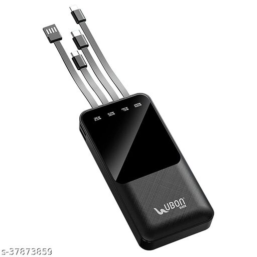 UBON PB-X17 10000mAh 4IN 1 in Built Cabel with LED Display Power Bank and Single Input Port, 18W Fast Charging, Power Delivery