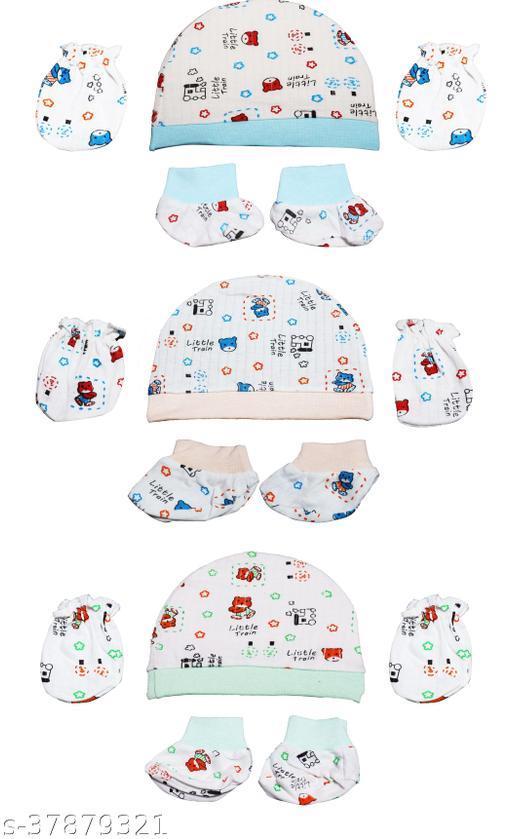Kronado Printed Multi-Colored Unisex Mittens for Newborn (Baby Boy/Baby Girl) Pack of 3